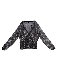 G Couture Exclusive Polka Dot Wrap Front Shirt Black