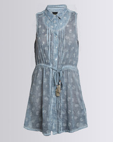 G Couture  Sleeveless Belted Tunic Blue