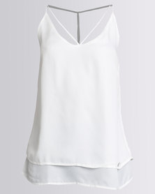 G Couture Double Layered Strappy Cami White