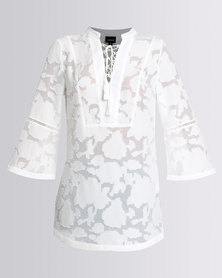 G Couture Lace Up Tunic Top White
