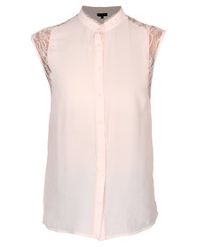 G Couture Chiffon Blouse with Lace Inset Pink