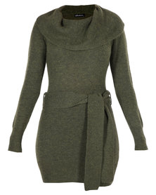 G Couture Cowl Neck Knit Dress with Belt Green