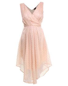 G Couture Handkerchief Hem Dress Pink
