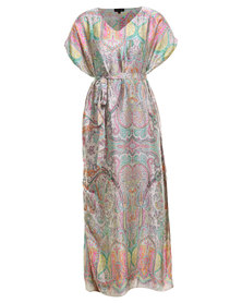G Couture Pastel Paisley Print Maxi Dress Multi