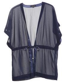 G Couture Kimono with Waist Tie Navy