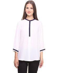 G Couture Mandarin Collar Blouse White