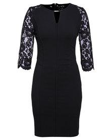 G Couture Lace Detail Dress Black