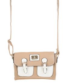 Gemini Two Pocket Cross Body Bag Beige