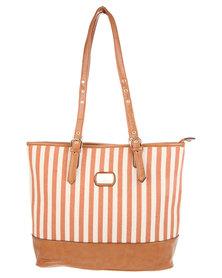 Gemini Stripe Block Shopper Bag Taupe