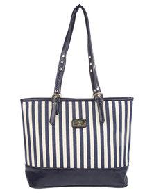 Gemini Stripe Block Shopper Bag Navy