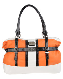 Gemini Colour Block Double Buckle Bag Orange