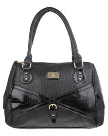 Gemini Ostrich Buckle Bag Black