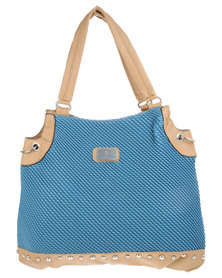 Gemini Rope Embossed Tote Bag Blue