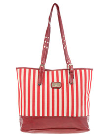 Gemini Stripe Block Shopper Bag Red