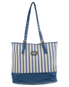 Gemini Stripe Block Shopper Bag Blue