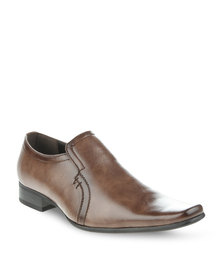 Gino Paoli Square Tip Formal Slip-On Brown