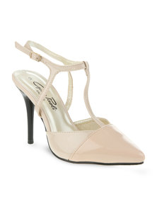 Gino Paoli Two-Tone Strappy Heels Nude