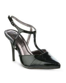Gino Paoli Two-Tone Strappy Heels Black