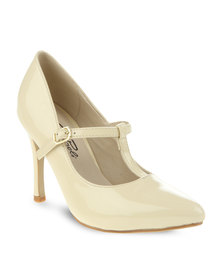 Gino Paoli T-Bar Strap Court Shoe Nude
