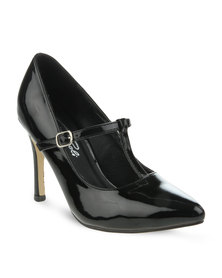 Gino Paoli T-Bar Strap Court Shoe Black