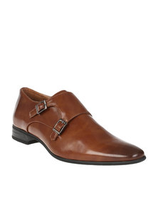 Gino Paoli Formal Slip On Shoe with Double Buckle Brogues Tan
