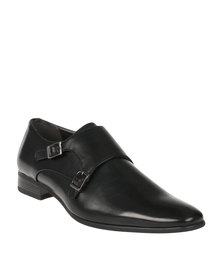 Gino Paoli Formal Slip On Shoe with Double Buckle Brogues Black