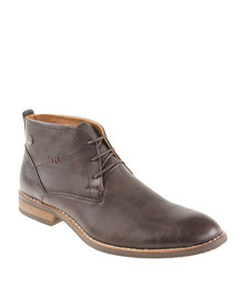 Gino Paoli Denim Counter Design Lace Up Boot Brown