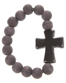 Glamour Cross Bead Bracelet Black