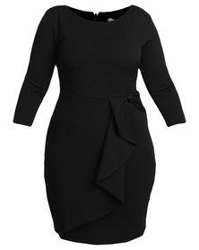Goddiva Waterfall Peplum Midi Dress Black
