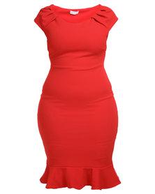 Goddiva Ruffled Hem Plus Size Midi Dress Red