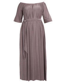 Goddiva Off Shoulder Bardot Maxi Dress with Tie Brown