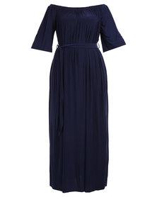 Goddiva Off Shoulder Bardot Maxi Dress with Tie Navy