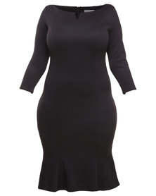 Goddiva Fluted Hem Dress with Pleats Black