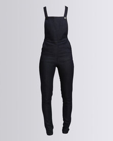 Goldie Stretch Denim Dungarees Dark Blue