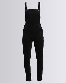 Goldie Fitted Stretch Corduroy Dungarees Black
