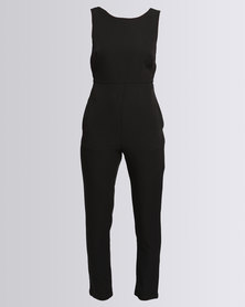 Goldie Jumpsuit With Open Back Black