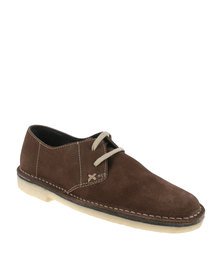 Grasshoppers Casual Suede Lace Up Shoe Brown