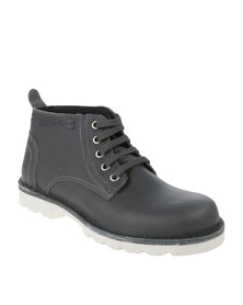 Grasshoppers Urban Denver Leather Casual Lace Up Ankle Boot Grey
