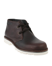 Grasshoppers Urban Denver Leather Casual Lace Up Ankle Boot Choc
