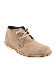 Grasshoppers Desert Leather Lace Up Boot Taupe