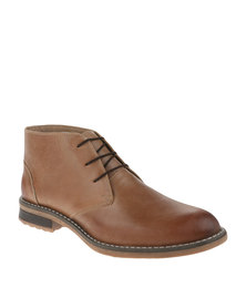 Grasshoppers Ermerson Leather Lace Up Boots Beige