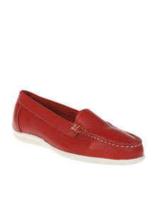 Grasshoppers Jade Leather Flat Moccasins Red