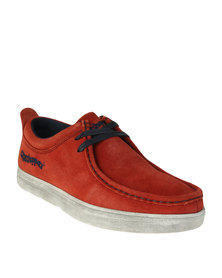 Grasshoppers Braylon Casual Suede Slip On Shoe With Lace Up Detail Red