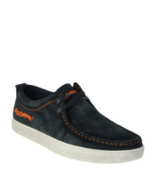 Grasshoppers Braylon Casual Suede Slip On Shoe With Lace Up Detail Navy