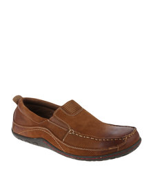 Grasshoppers Oswald Camel Nubuck Casual Slip On Shoe Brown