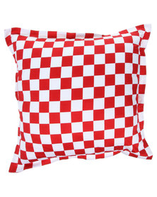 Grey Gardens Mini Check Scatter Cushion Red