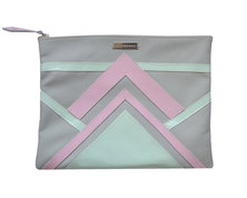 GTHOMAS Leather Linear Clutch Mint & Pink