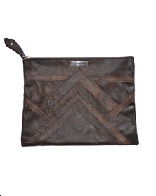GTHOMAS Leather Linear Clutch Choc Brown