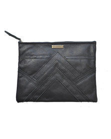 GTHOMAS Leather Linear Clutch Navy Blue
