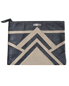 GTHOMAS Leather Linear Clutch Navy & Brown